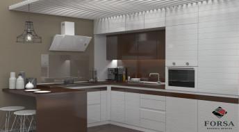 Кухонный гарнитур Лидер «Бело-коричневый»