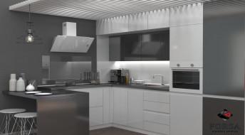 Кухонный гарнитур Лидер «Серо-белый»
